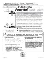 Rheem - Power Vented Water Heaters - Use and Care Guide